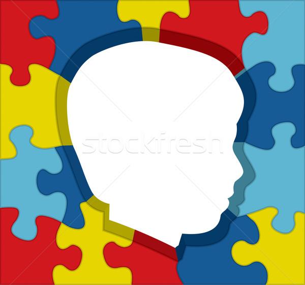 Autismus Bewusstsein Puzzle Silhouette Illustration farbenreich Stock foto © enterlinedesign