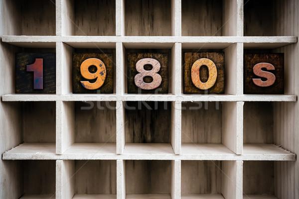 1980 legno tipo disegnare parola Foto d'archivio © enterlinedesign