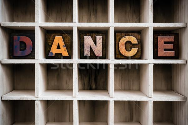 Dans ahşap tip çekmek kelime Stok fotoğraf © enterlinedesign