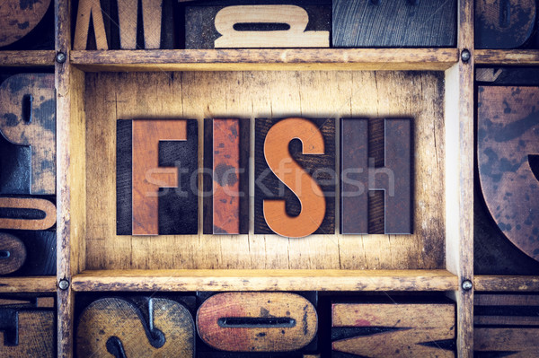 Fish Concept Letterpress Type Stock photo © enterlinedesign
