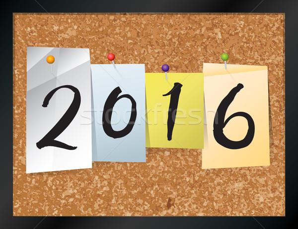 2016 boletim conselho ilustração ano escrito Foto stock © enterlinedesign