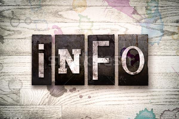 Info Concept Metal Letterpress Type Stock photo © enterlinedesign