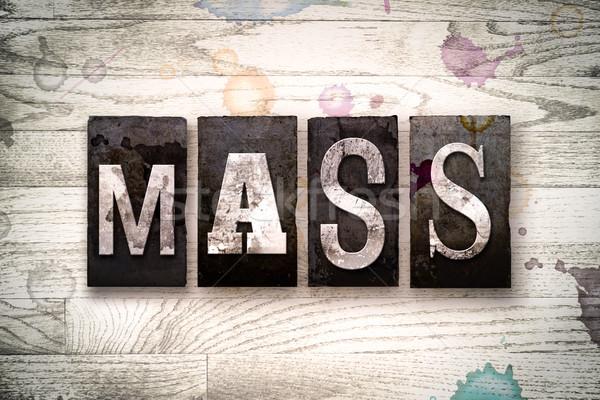 Massa metaal type woord geschreven Stockfoto © enterlinedesign
