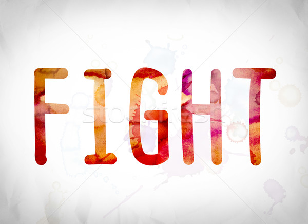 Fight Concept Watercolor Word Art Stock photo © enterlinedesign