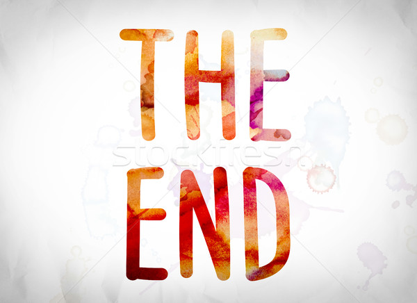 The End Concept Watercolor Word Art Stock photo © enterlinedesign