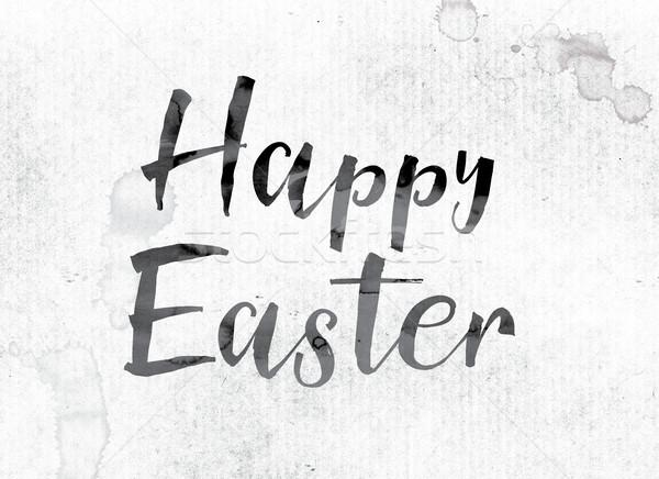 Kellemes húsvétot festett tinta szó vízfesték fehér Stock fotó © enterlinedesign