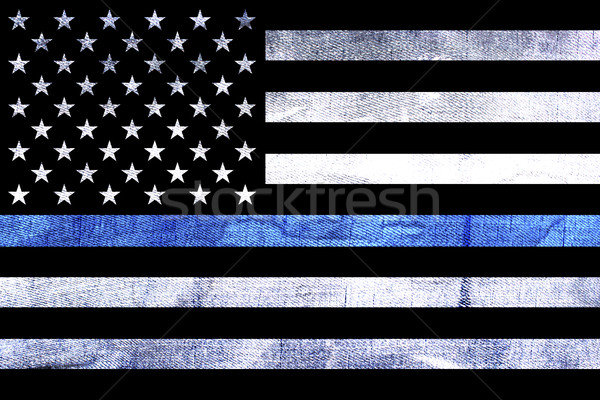 Police Support Flag Thin Blue Line Stock photo © enterlinedesign