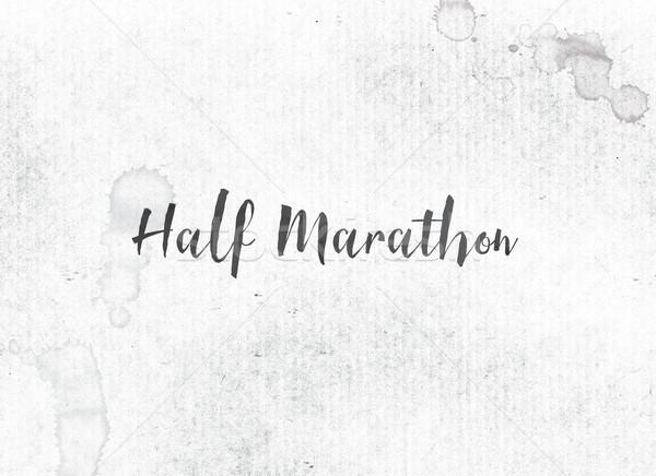 Maraton malowany atramentu słowo słowa Zdjęcia stock © enterlinedesign