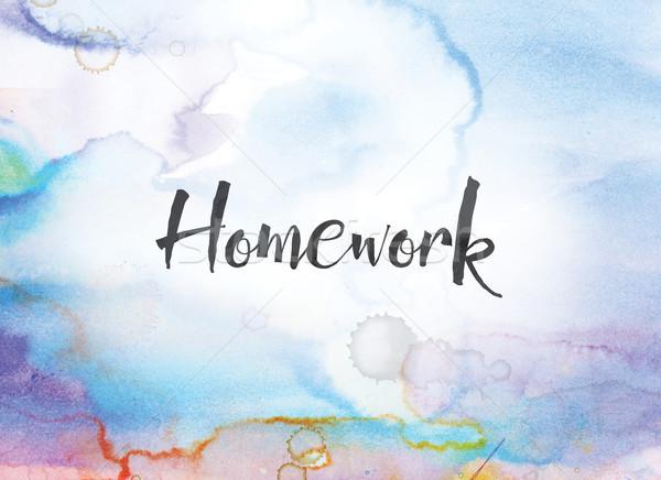Huiswerk aquarel inkt schilderij woord geschreven Stockfoto © enterlinedesign