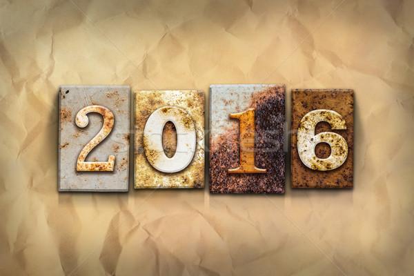 2016 carta parola scritto arrugginito Foto d'archivio © enterlinedesign