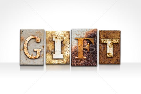 Hediye yalıtılmış beyaz kelime yazılı Stok fotoğraf © enterlinedesign