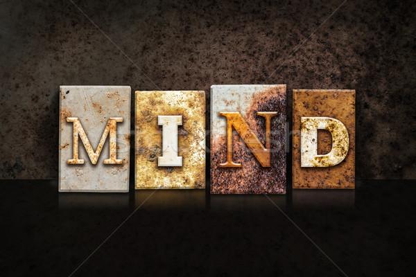 Mind Letterpress Concept on Dark Background Stock photo © enterlinedesign