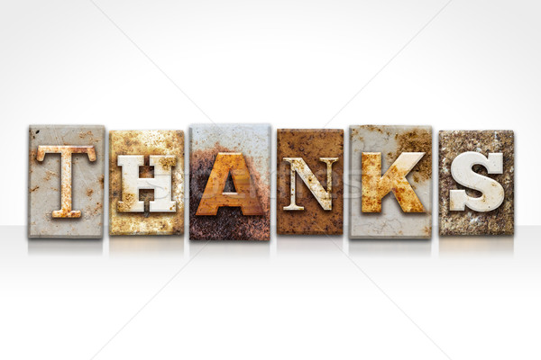 Thanks Letterpress Concept Isolated on White Stock photo © enterlinedesign