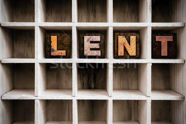 Houten type lade woord geschreven Stockfoto © enterlinedesign