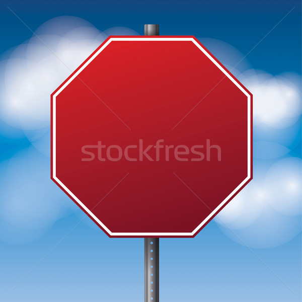 Blank Red Road Stop Sign Illustration Stock photo © enterlinedesign