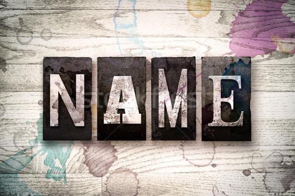Name Concept Metal Letterpress Type Stock photo © enterlinedesign