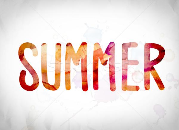 Verão aquarela palavra arte escrito branco Foto stock © enterlinedesign