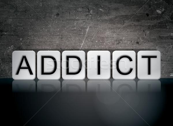 наркоман плиточные слово написанный белый плитки Сток-фото © enterlinedesign