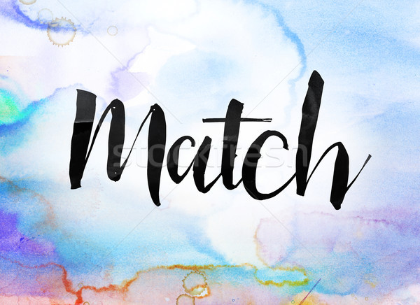 Match couleur pour aquarelle encre peinture mot écrit Photo stock © enterlinedesign