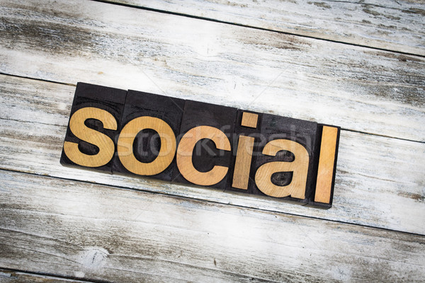 Social Letterpress Word on Wooden Background Stock photo © enterlinedesign
