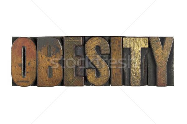 Fettleibigkeit isoliert weiß geschrieben Jahrgang Buchdruck Stock foto © enterlinedesign