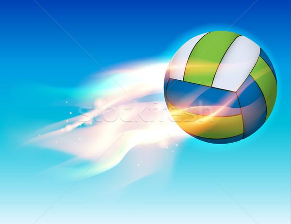 Pływające ognisty siatkówka niebo ilustracja Błękitne niebo Zdjęcia stock © enterlinedesign