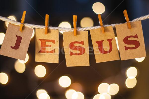 Jézus kártyák fények név nyomtatott ruhacsipesz Stock fotó © enterlinedesign