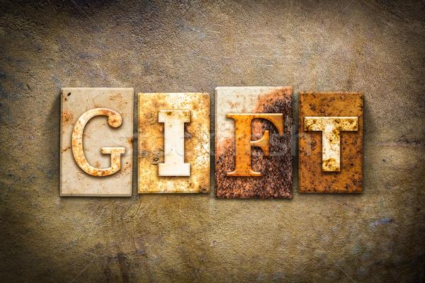 Geschenk Buchdruck Leder Wort geschrieben rostigen Stock foto © enterlinedesign
