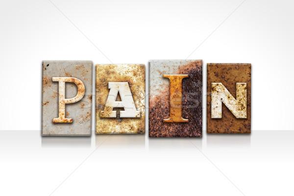 Pijn geïsoleerd witte woord geschreven Stockfoto © enterlinedesign