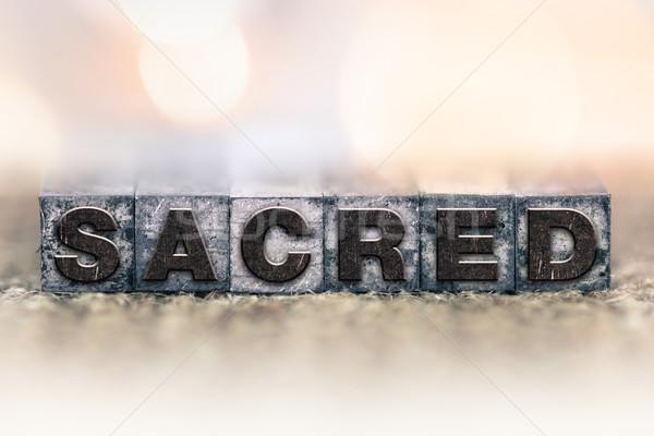 Sagrado vintage tipo palabra escrito Foto stock © enterlinedesign