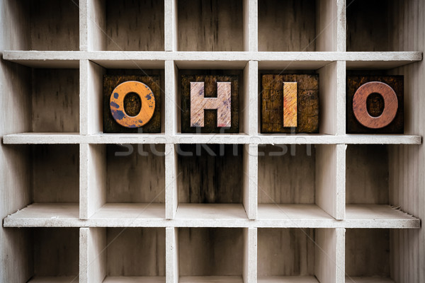 Ohio Concept Wooden Letterpress Type in Drawer Stock photo © enterlinedesign