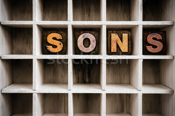 Sons Concept Wooden Letterpress Type in Drawer Stock photo © enterlinedesign