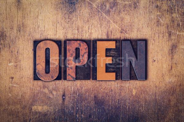 Open Concept Wooden Letterpress Type Stock photo © enterlinedesign