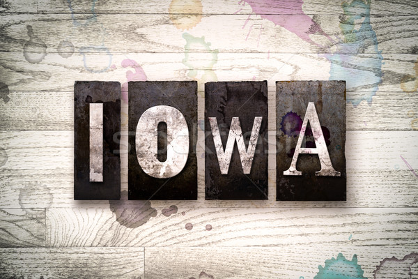 Iowa fém magasnyomás szó írott Stock fotó © enterlinedesign