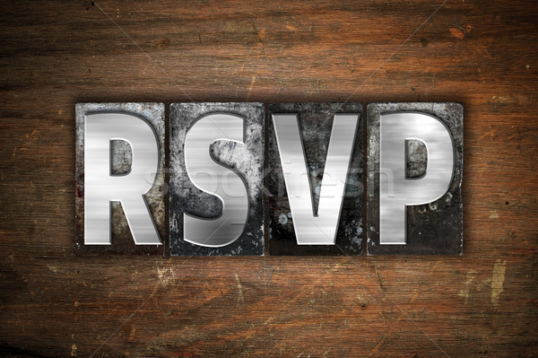 RSVP Concept Metal Letterpress Type Stock photo © enterlinedesign