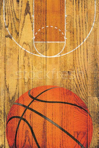 Vintage koszykówki drewnianej podłogi boisko do koszykówki malowany piłka Zdjęcia stock © enterlinedesign