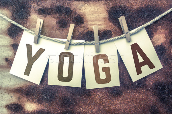 Yoga Concept Pinned Stamped Cards on Twine Theme Stock photo © enterlinedesign