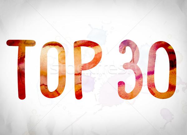 Top 30 акварель слово искусства написанный Сток-фото © enterlinedesign