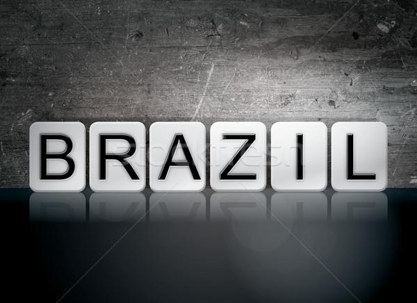 Бразилия плиточные письма слово написанный белый Сток-фото © enterlinedesign