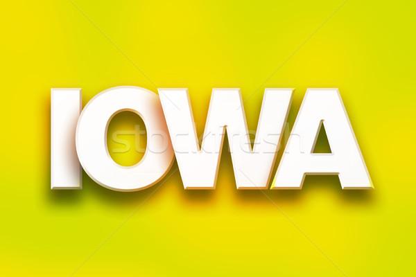 Айова красочный слово искусства написанный белый Сток-фото © enterlinedesign