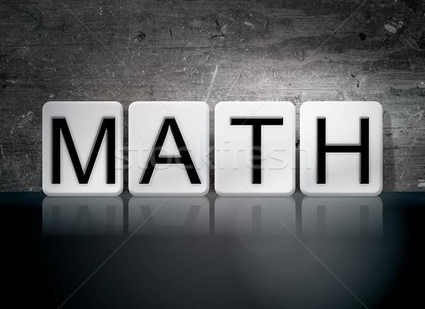 Matemática azulejos cartas palavra escrito branco Foto stock © enterlinedesign