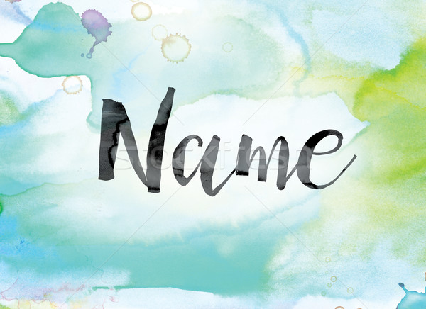 Name Colorful Watercolor and Ink Word Art Stock photo © enterlinedesign