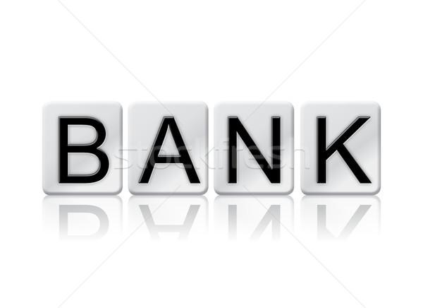 Stock fotó: Bank · csempézett · szó · izolált · fehér · írott