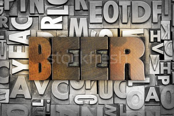 ストックフォト: ビール · 言葉 · 書かれた · ヴィンテージ · タイプ