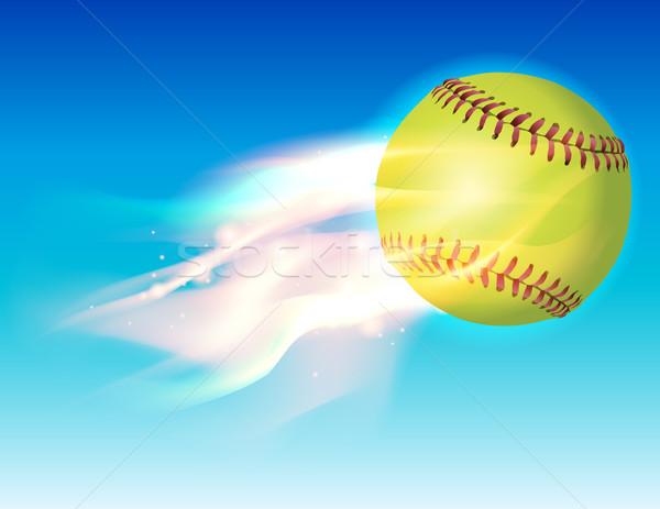 Vlammende softbal hemel illustratie vector eps Stockfoto © enterlinedesign