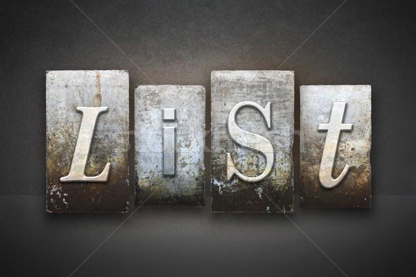List Letterpress Stock photo © enterlinedesign