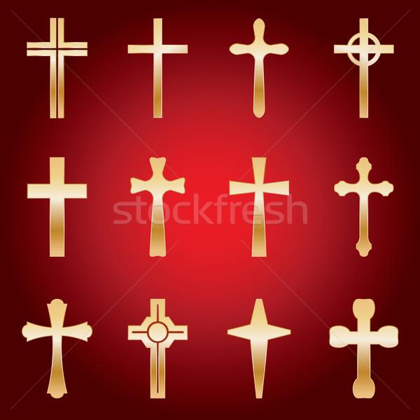 Set of Gold Crosses Stock photo © enterlinedesign