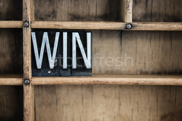 Win Concept Metal Letterpress Word in Drawer Stock photo © enterlinedesign