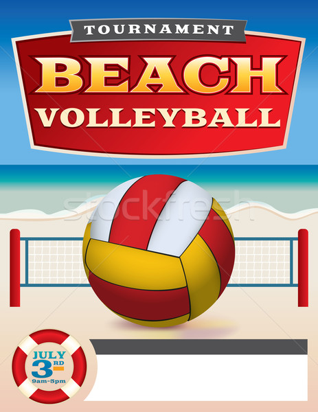 Beach Volleyball Tournament Flyer Illustration Stock photo © enterlinedesign