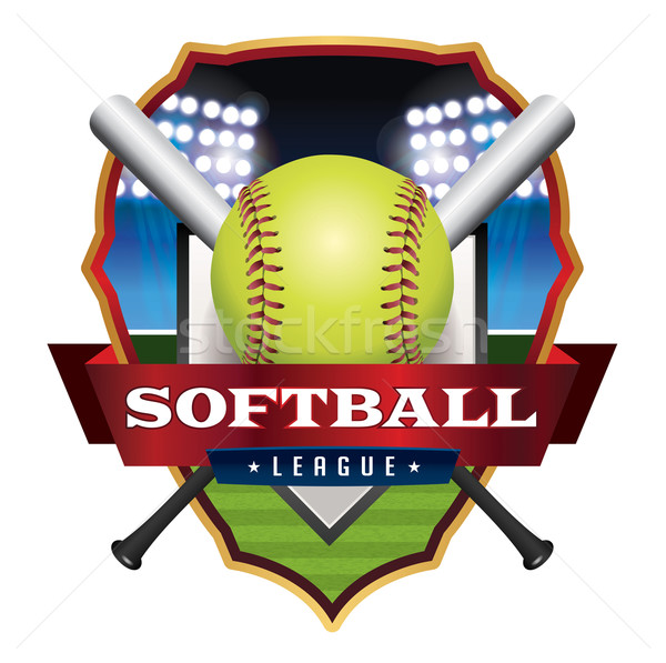 Softball campionato emblema illustrazione badge vettore Foto d'archivio © enterlinedesign